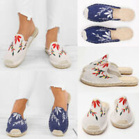 Womens Floral Print Slip-on Slipper Ladies Casual Flats Espadrilles Shoes Size