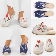 Womens Floral Printed Slip-on Slipper Ladies Casual Flats Espadrilles Shoes Size