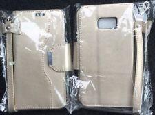Samsung S7 Cubierta Protectora Estuche estilo Billetera Magnética De Oro Con Espejo