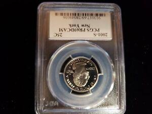 2001 S WASHINGTON QUARTER NEW YORK PCGS PR69DCAM 913017.69/28048036