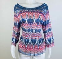 Chicos Women Size 3 Or XL Multicolor 3/4 Sleeves Blouse Top Shirt