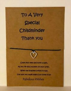 'Special Childminder' Thank You Wish Bracelet Gift! Tibetan Silver Heart Charm!
