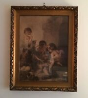 Antique 1920's Lithograph By Franz Hanfstaeng Original Wood Frame Germany A2