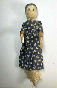 VTG ANTIQUE GRODNERTAL GERMAN PEG DOLL CARVED WOOD JOINTED ORIG. CLOTHES AS IS