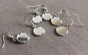 Hook Earring with 12mm Cabochon Bezel Setting, 6pcs, Bright Silver, Jewellery