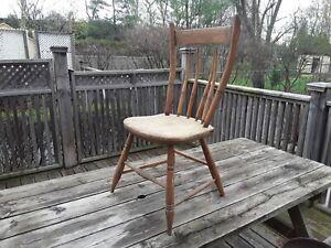 Wooden Chair. Handmade Primitive /Antique.Curved Back. Needs Further Restoration