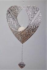 Teelichthalter Herz Prado Zum Aufhängen Silber 32cm Metall Formano