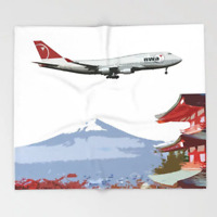 Northwest Airlines 747 over Mt Fuji Art - 51x60 Throw Blanket