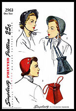 HAT CAP BAG PURSE Fabric Sewing Pattern Simplicity 2963 Millinery Misses VTG
