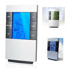 Digital LCD Backlight Thermometer Humidity Meter Hygrometer Table Alarm Clock