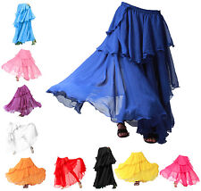 Danza del vientre 3 capas bailarines Tango Samba Gitano Falda Carnaval en niveles Vestido de fantasía