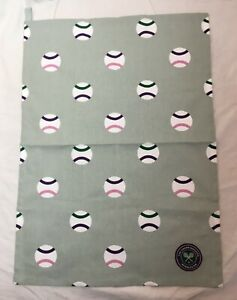 Wimbledon Tennis Tea Towel Souvenir Memorabilia with sew on badge patch