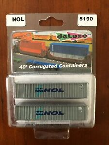 Deluxe N Scale Pair of 40' Corrugated Containers - #5190 NOL