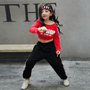 Girls Children's Jazz Hip-Hop Dancewear Kids Dance Kids Show Costumes Tops&Pants
