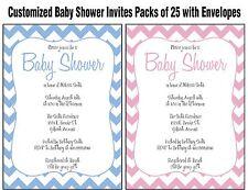 CUSTOM BABY SHOWER INVITATIONS - boy girl cute chevron  personalized PACKS OF 25