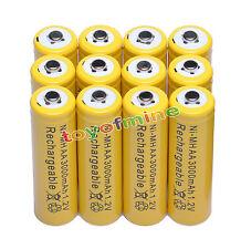 12x AA 2A 3000mAh NI-MH batería recargable de color amarillo