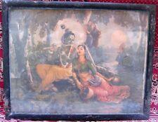Vintage Collectible Beautiful Radha Hindu God Krishna Print At Yamuna River