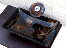 Bathroom Rectangular Glass Vessel Vanity Sink Faucet 9M