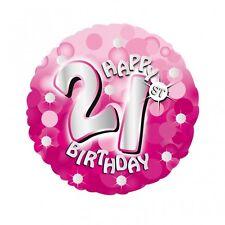 "Pink Sparkle Age 21 21st 18"" Birthday Helium Foil Balloon"