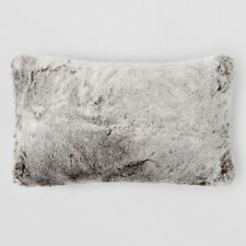 "Hudson Park Collection Frosted Faux Fur Decorative Pillow 12"" x 20"" Arctic Gray"