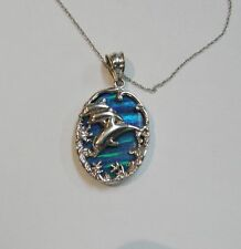 14K WHITE GOLD DOLPHIN PENDANT W/LAB CREATED OPAL/18'' FINE TWISTED CHAIN NG40-M