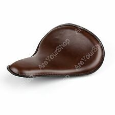 Brown Leather Solo Slim Seat Large For Harley Bobber Chopper Custom