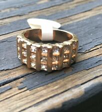 18 Karat Heavy Gold Electroplate & Cubic Zirconia Ring Size 6 Signed 'A'
