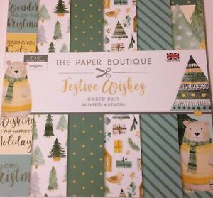 """Festive Wishes from The Paper Boutique Paper Pad 36 sheets 6 designs 8"""" x 8"""" NEW"""