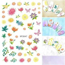 Nail Art Water Decals Stickers Transfers Tropical Flowers Floral Fern (XF3047)