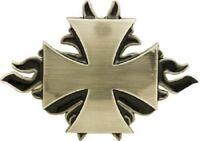 Silver Cross With Flames Belt Buckle Maltese Cross Biker