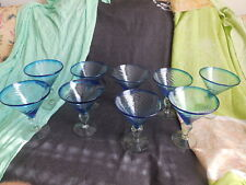 "Handblown Mexican Margaretia Glasses 9 Pieces 7"" tall x 6"" wide Bar Ware"