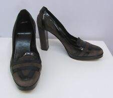 PIERRE HARDY SHOES PUMPS BLACK PATENT LEATHER & BROWN SUEDE 38 9