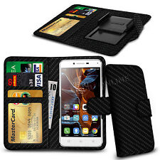 For Acer Liquid Glow E330 - Various Carbon Fibre Clip Wallet Case Cover