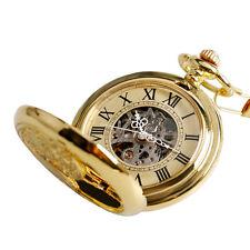 Classic Gold Men Auto Mechanical Steampunk Phoenix Windup Pocket Watch Xmas Gift