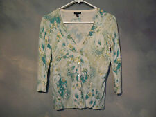 TALBOTS LADIES BUTTON FRONT MULTICOLORED CARDIGAN SZ SMALL