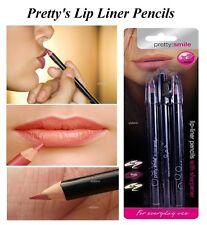 3x Pretty Lip Liners Pencils Set & Sharpener Pink, Plum & Nude Lips Liner (NEW)