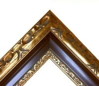 "3"" 5/8 wide Classic GOLD brown Ornate WOOD Picture Frame 701RP"