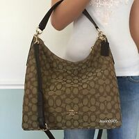 NEW! COACH Khaki Brown Signature Hobo Tote Shoulder Crossbody Bag Purse Handbag