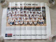 1990 NY New York Mets Team Poster Lincoln Mercury Promo Baseball Vintage Rare