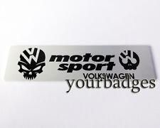 New Brushed Aluminium VW Volkswagen Motor Sport Skull Car badge Golf