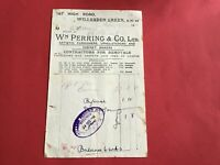 Wm Perring & Co Ltd Furnishers Upholsterers Cabinet Makers 1934  receipt R34369