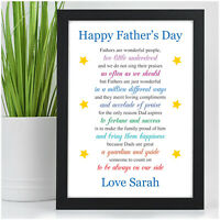 Personalised Happy Fathers Day Keepsake Poem Gifts for DADDY DAD GRANDAD HIM