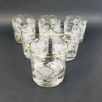 Vintage Houze Art Dandelion Old Fashion Glasses with Gold Rim lot of 6
