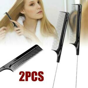 Fine-tooth Metal Pin Hairdressing Hair Style Rat Tail Comb Black Tool