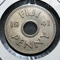 1941 FIJI ONE PENNY HIGH GRADE COIN
