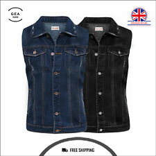 Black & Blue Mens Women Denim Jacket Sleeveless Button Vest Outwear Waistcoat