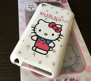 For iPod Touch 4th Gen - TPU RUBBER GUMMY SKIN CASE COVER PINK WHITE HELLO KITTY
