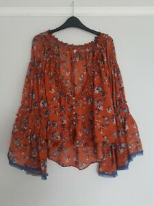 Free People Rust Wide Sleeve Florence Printed Button Down Top Size XS BNWT