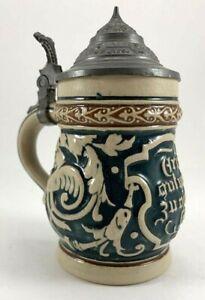 """Antique/Vintage German Miniature Beer Stein W/ Pewter Lid 4-1/2"""" Tall"""