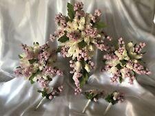 TEARDROP IVORY ROSE BUDS SILK PINK FLOWERS WEDDING BRIDAL FLOWERS BOUQUET SET